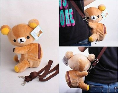 Cute !San-X Rilakkuma Relax Brown Bear Mini Backpack Bag Doll
