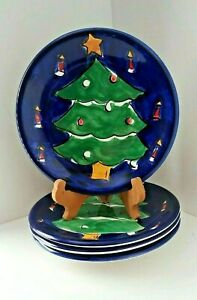 SET-OF-4-GIBSON-DESIGNS-FESTIVE-BLUE-CHRISTMAS-TREE-DESSERT-SALAD-PLATES-8-1-4-034