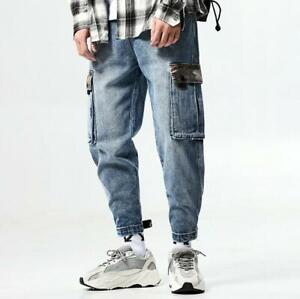 Mens-Loose-Denim-Overalls-Skinny-Pants-Pockets-Work-Jeans-Dance-Casual-Trousers
