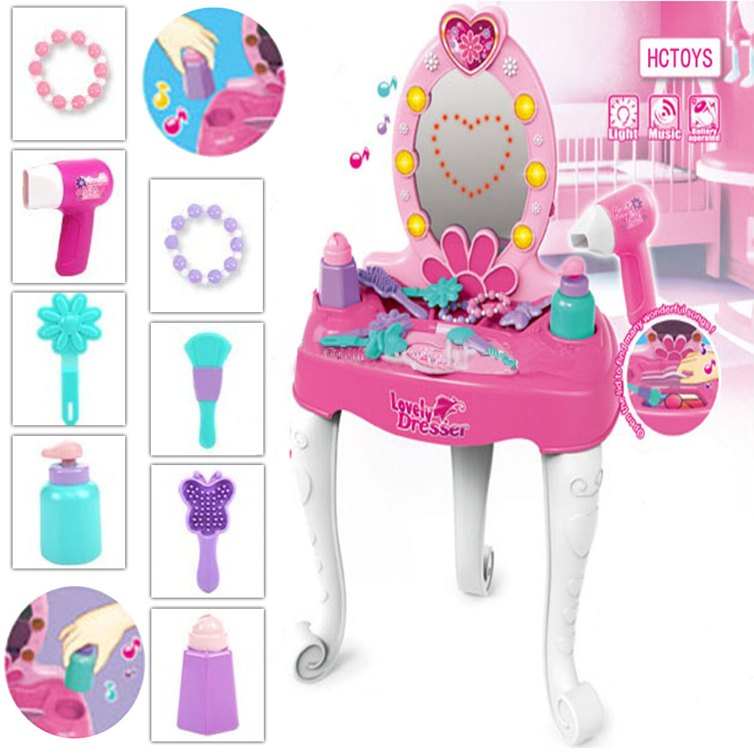 KIDS TOY DRESSING MAKEUP TABLE ROLE PLAY GIRLS VANITY LIGHT MUSIC SET XMAS GIFT