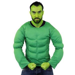 Costume Da Supereroe Da Uomo Verde muscoli sul petto e Facepaint Set Costume Film