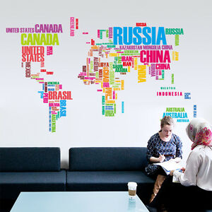 Colorful world map in words home decor wall sticker wallpaper wall image is loading colorful world map in words home decor wall gumiabroncs Image collections