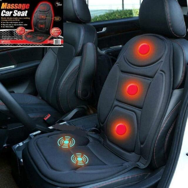 Heated Car Back Massage Seat Topper Pad Cushion For Home Office Chair