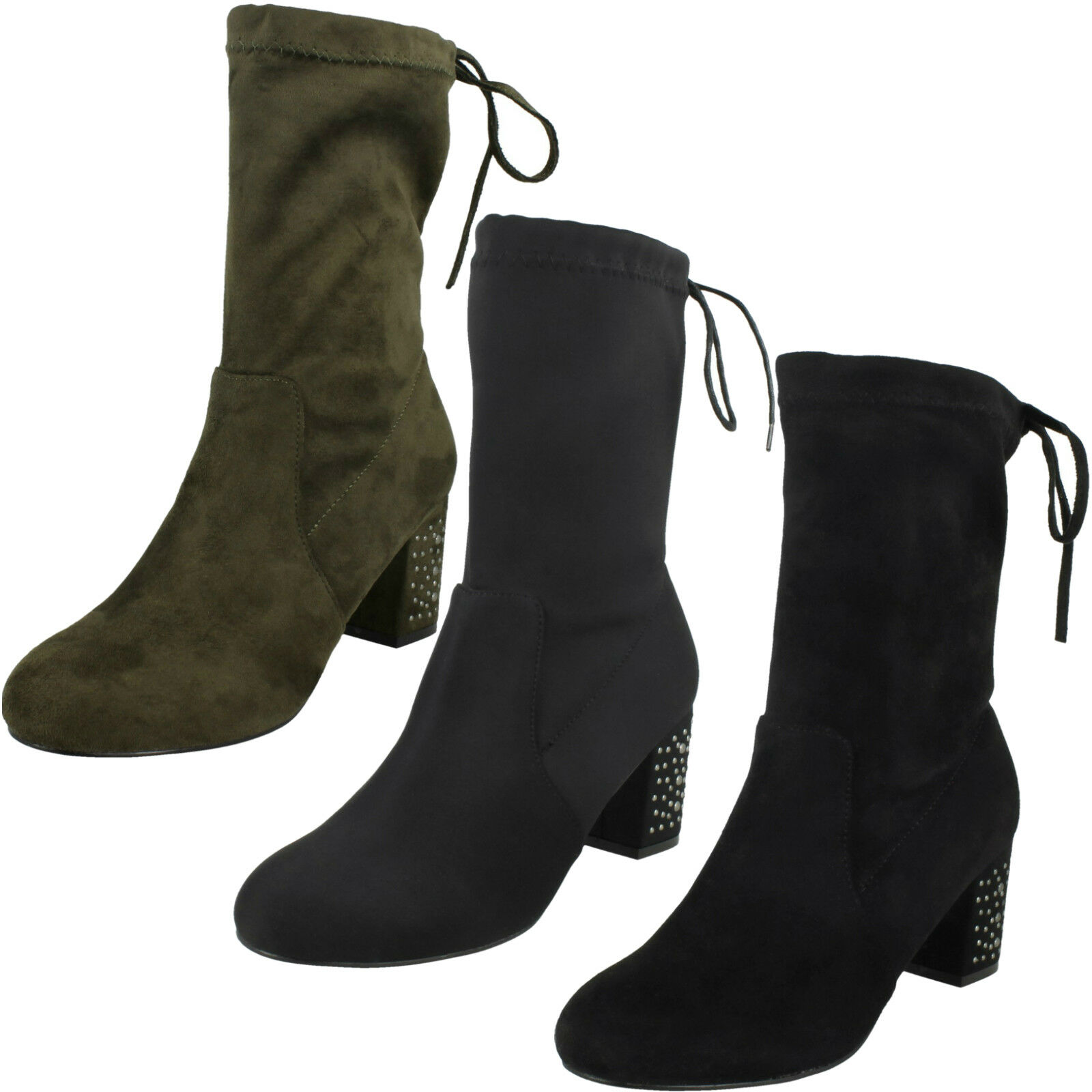 Ladies Black/Khaki Mid Calf Heeled Ankle Boots F50857