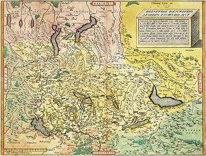 MAP-ANTIQUE-TSCHUDI-1538-UPSIDE-DOWN-SWITZERLAND-REPLICA-POSTER-PRINT-PAM1243