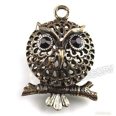 5pcs 141853 New Wholesale Antique Bronze Hollow Owl Charms Alloy Pendants 40mm