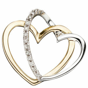 Anhaenger-Herzen-585-Gold-Gelbgold-bicolor-14-Diamanten-Brillanten-Herzanhaenger