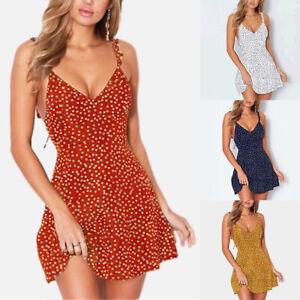 Womens-Boho-Floral-Summer-V-Neck-Party-Evening-Short-Mini-Beach-Dress-Sundress