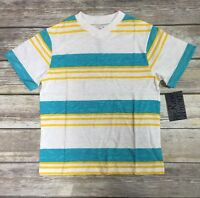 C-life Group The Raw Uncut Boys V-neck Tee Shirt White Yellow Teal Stripe Size 7