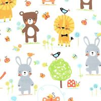 Michael Miller Nature Babies on Cotton Flannel in White. baby,neutral. By the FQ