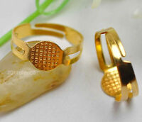 50Pcs gold plated charm stripe hole ring finding adjustable 18mm