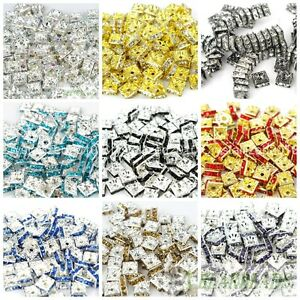 100pcs-Top-Czech-Crystal-Rhinestones-Squaredelle-Spacer-Beads-5mm-6mm-8mm-10mm