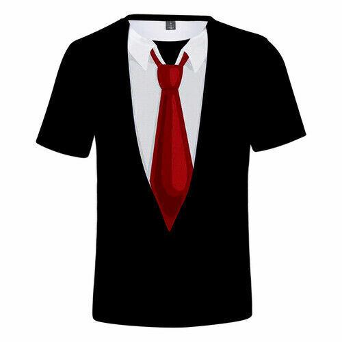 Fashion Women Men T-Shirt 3D Print Faux Tuxedo Short Sleeve Tee Many Style Tops
