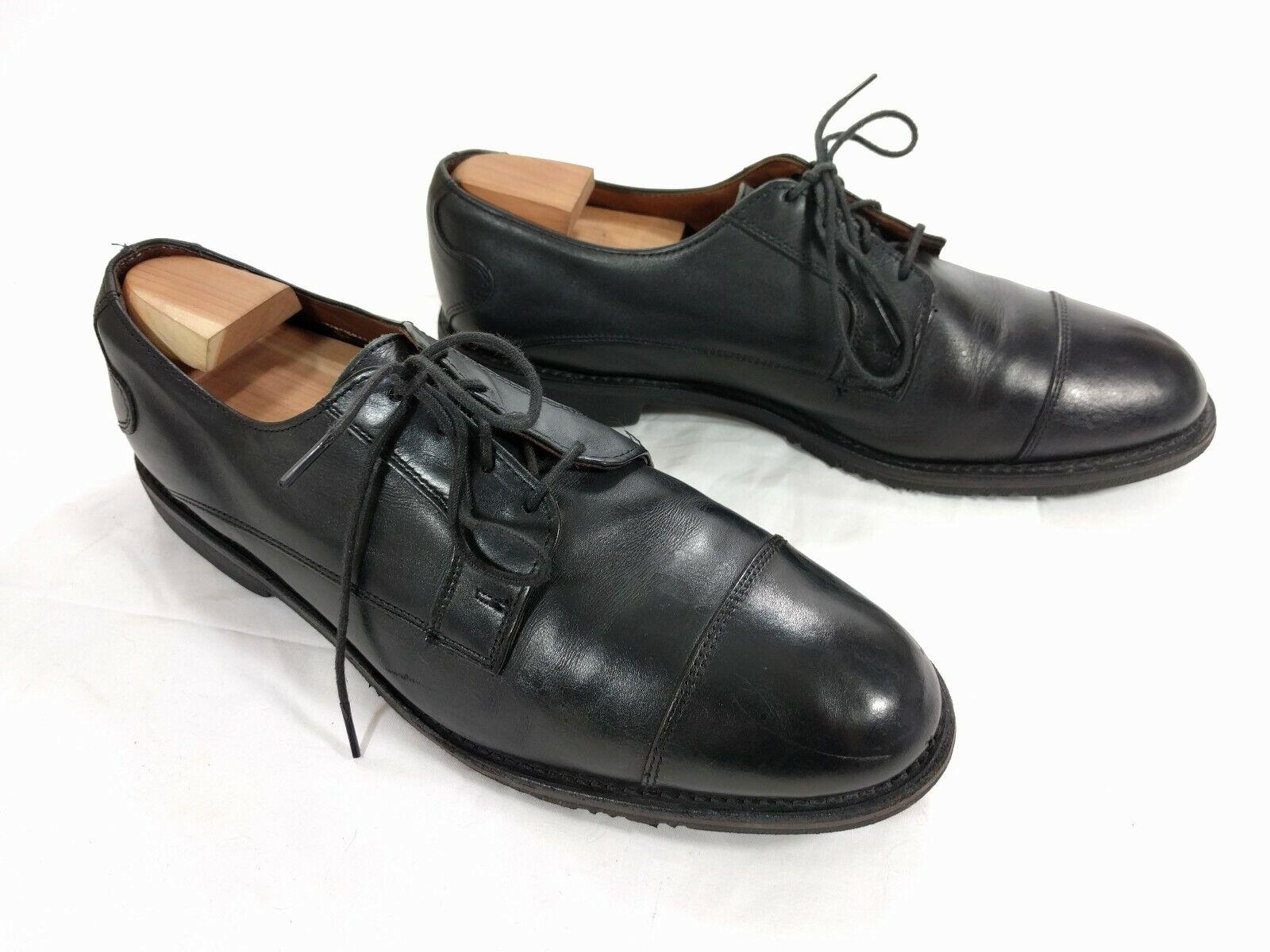 ALLEN EDMONDS Hombre Cuero Negro Memphis Cap-Toe Oxford Zapatos EE. UU. - 10.5 D