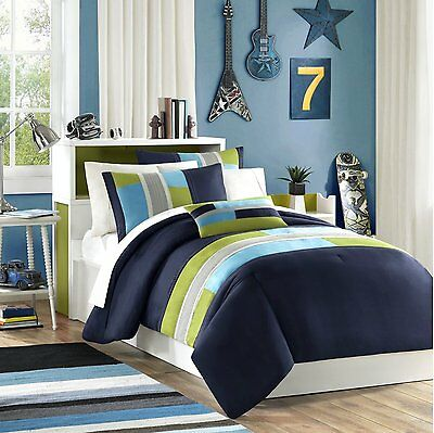 BEAUTIFUL MODERN NAVY BLUE TEAL KHAKI GREEN STRIPE BOY SPORT SOFT COMFORTER SET