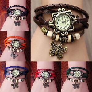 Fashion-Butterfly-Bracelet-Leather-Women-039-s-Quartz-watch-Bangle-Retro-Wristwatch
