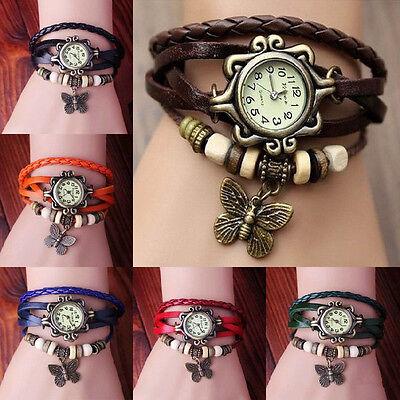 Fashion Butterfly Bracelet Leather Women's Quartz watch Bangle Retro Wristwatch