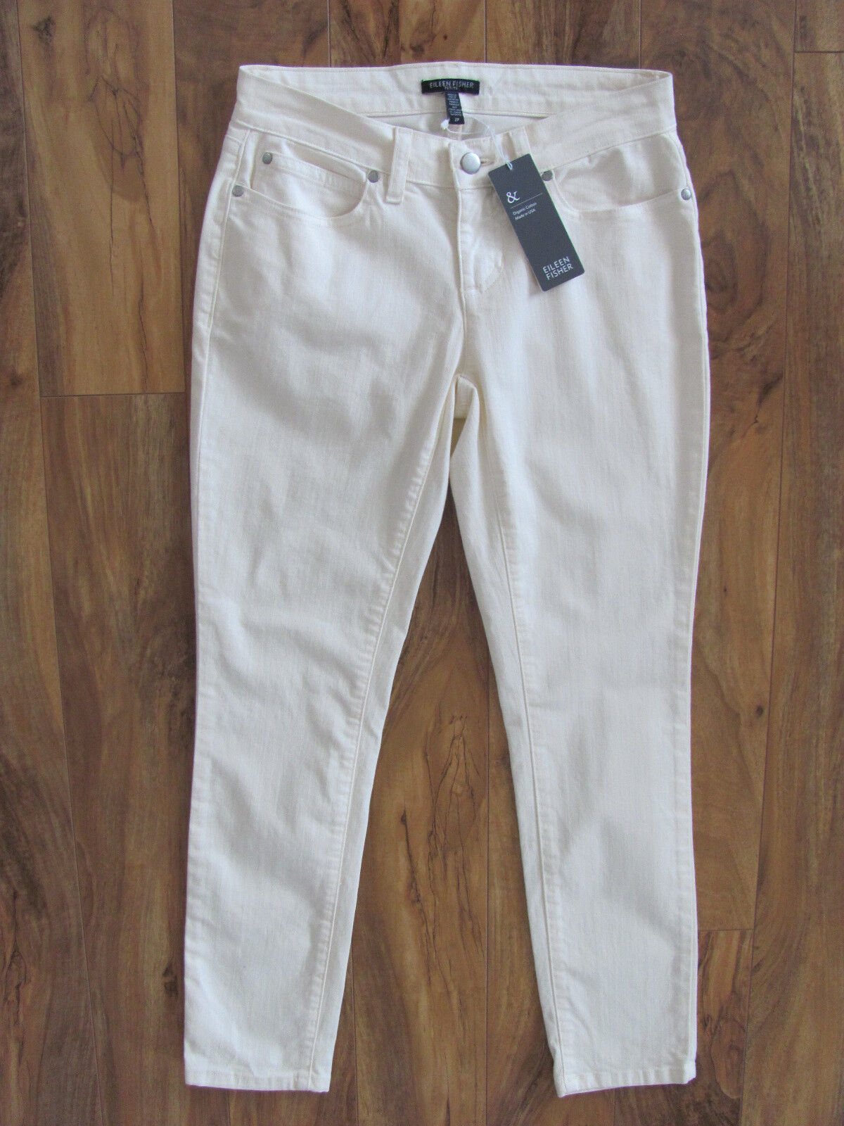 Eileen Fisher Slim Ankle Jeans-Stretch Denim -Org Cotton-Ecru -Size 2P -NWT  178