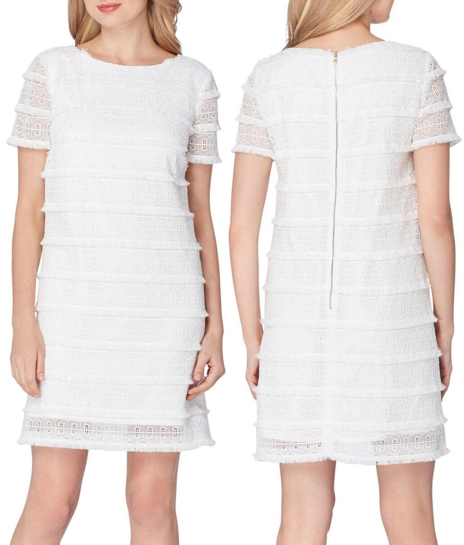 Franja De  Encaje Shift Tahari 7120M191 blancoo Vestido con cremallera trasera expuesta, 6R -  188  minoristas en línea