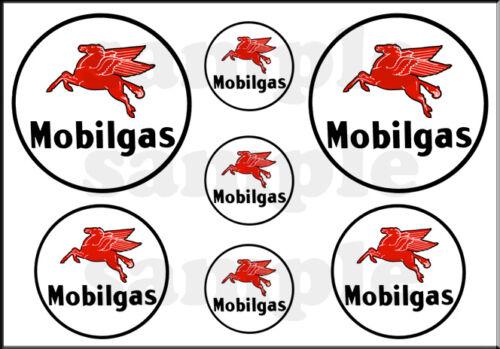 "1//2/"" ROUND PEGASUS HORSE SHEET MOBIL GAS OIL DECAL 1/"" 3//4"