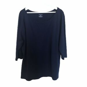 LANE-BRYANT-Navy-Blue-100-Pima-Cotton-3-4-Sleeve-Top-Women-039-s-Size-26-28