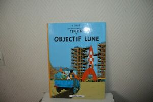 LIVRE-BD-AVENTURES-TINTIN-OBJECTIF-LUNE-CASTERMAN-HERGE-COMME-NEUF