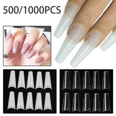 500/1000 PCS Clear False Acrylic Nails UV Gel Half French