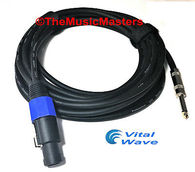 "1 Pack 25 FT Audio PA DJ AMP 1//4/"" to 1//4/"" Male Shielded Jack Mono Plug Cables"
