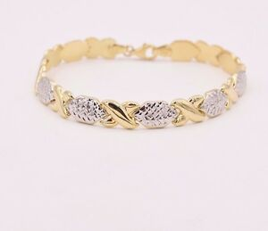 7-25-034-Diamond-Cut-Hugs-and-Kisses-Stampato-Bracelet-Real-10K-Yellow-White-Gold