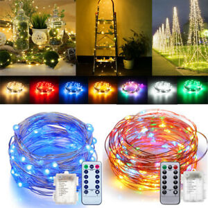 50/100 LED Battery Operated Remote Control String Fairy Light ...