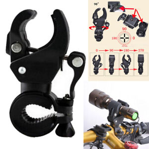 Rotation Bicycle Handlebar Mount Bracket Bike Flashlight Torch Clamp Holder Clip