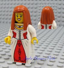 NEW Lego Pirates Orange Hair FEMALE MINIFIG -White Red Dress/Skirt Princess Girl
