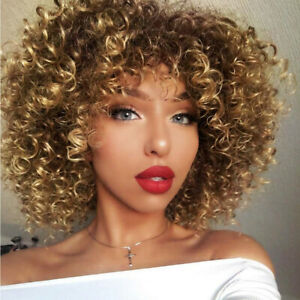 Details About Ombre Brown Hair Blonde Curly Wigs For Black Women Fashion Afro Kinky Curly Wig