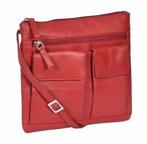 Ladies-Real-Leather-Cross-Body-Purse-Messenger-Shoulder-Portable-Red-Sling-Bag
