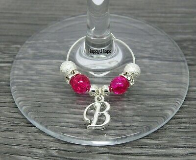 Silver Stardust /& Green Pearl Alphabet Initial Letter Wine Glass Charm