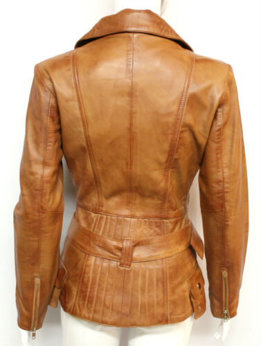 Cara Ladies women/'s Chestnut Designer Model Party Clubbing Real Leather Jacket