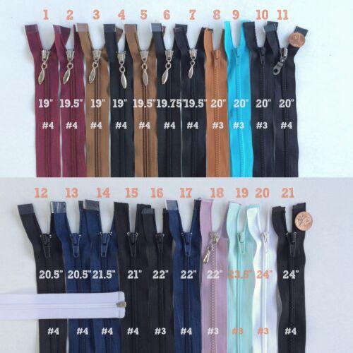 """Open End Jacket Zippers 19/"""" 20/"""" 21/"""" 22/"""" 24/"""" Separating Nylon Jacket Zipper J1924"""