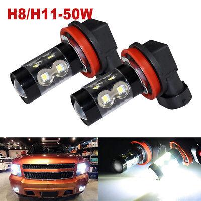 2x H11 H8 6500k Super White Fog Lights 3030 12-SMD LED Driving Running Bulbs DRL