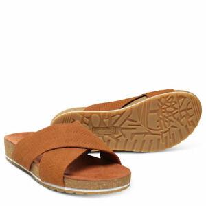 Mamut Extranjero traición  Timberland Malibu Waves Cross Slide brown leather ladies sandal | eBay