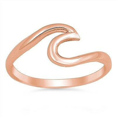 Wave Ring Sterling Silver 925 Rose Gold Plated Jewelry Best Price Selectable