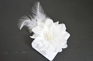 New 8cm white fabric flower with glitter edge flow clip hair clip image is loading new 8cm white fabric flower with glitter edge mightylinksfo