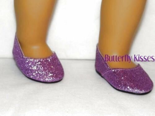 Lavender Glitter Slip On Shoes 18 in Doll Clothes Fits American Girl