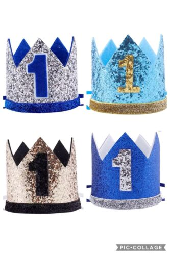 Baby Boys Cake Smash Prop 1st First Birthday Hat Crown Outfit Glitter 4 Colours