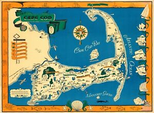 graphic regarding Printable Map of Cape Cod identified as Information with regards to Cape Cod Common Pictorial Map Poster Giclee Canvas Print 40x30