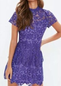 Details About Missguided High Neck Short Sleeve Lace Skater Dress Blue Size 12 Rrp 40 Box E133