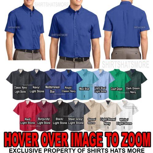 Mens Short Sleeve Shirt W// Pocket Easy Care Button Down Collar XS-XL 2XL 3XL 4XL