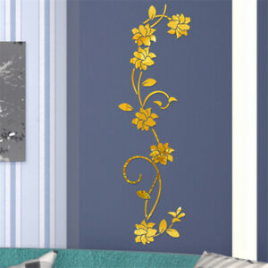 3D-Mirror-Flower-Art-Wall-Sticker-Acrylic-Mural-Decal-Home-Room-Removable-Decor