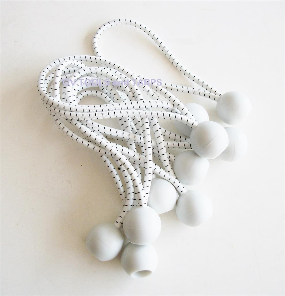 6  WHITE HEAVY DUTY PREMIUM BALL BUNGEE   BUNGEES 50pc lot  Free Shipping