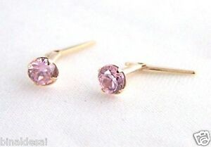 Genuine 9ct Yellow Gold 3mm Claw Set Lavander Stud Earrings 3mm thd9t