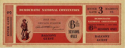 1944 Franklin Roosevelt Chicago Democratic Convention Ticket 4955